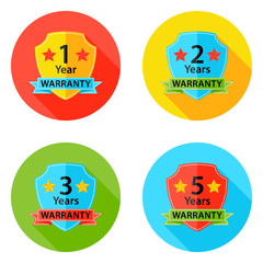 Warranty Flat Circle Icons Set 2 with Shadow