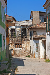 Rundown houses in Turkish village