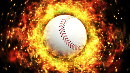 Baseball Ball and Flames