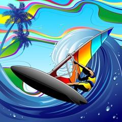 Windsurfer on Ocean Waves