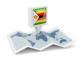 Square pin with flag of zimbabwe on the map