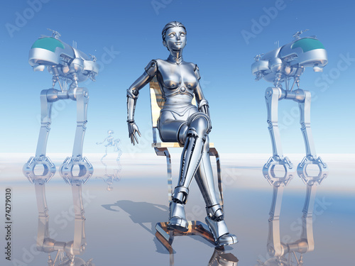 canvas print picture Female Robot on the Robot Planet