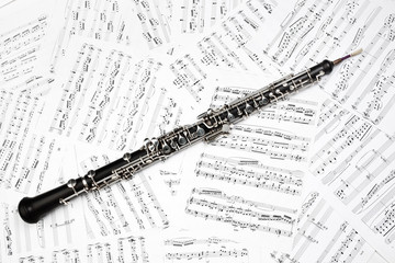 Oboe with music sheet notes classical musical instruments