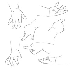 Baby hand, different gestures, vector illustration