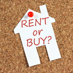 The question to Rent or Buy on a notice board reminder