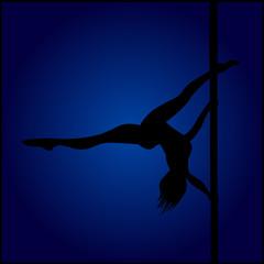 Pole Dancer Hanging During Her Performance Over Dark Blue