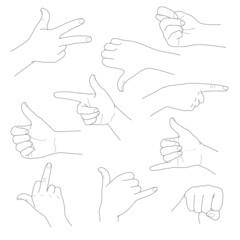 Hands in different gestures  vector illustration