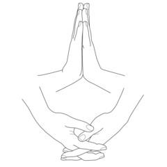 Hands folded in prayer, vector illustration
