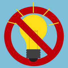 Prohibition sign of use of incandescent light bulbs