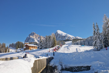 Dolomites mountain in winter