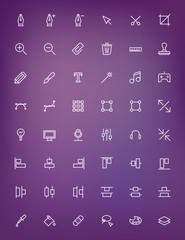 Thin line design tools icons set for web