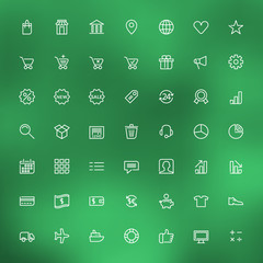 Thin line shopping and business icons set