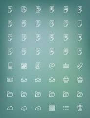 Thin line document icons set for web and mobile apps
