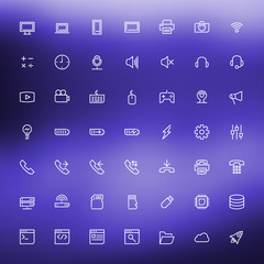 Thin line technology icons set for web and mobile apps