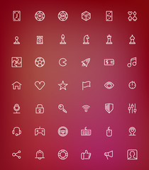 Thin line game icons set for web and mobile apps