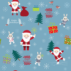 Сhristmas postcard with Funny Santa Clauses, bunnies, birds and