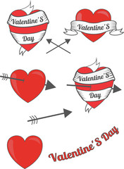 Set of Valentine's Day red labels