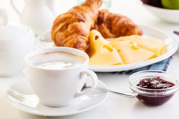 Hot coffee in the morning breakfast