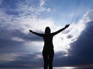 yoga silhouette sky