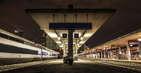 Nocturnal view of a train station