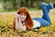 redhead girl in fall