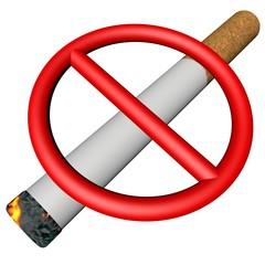 Prohibition sign over cigarette
