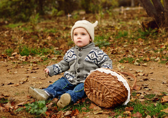 toddler boy in fall