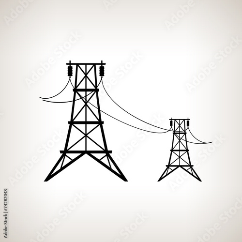 Silhouette high voltage power lines  , vector illustration - 74282048