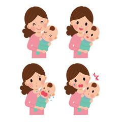 親子 母子 表情 イラスト