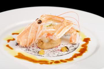 Norway lobster on Aubergine cream