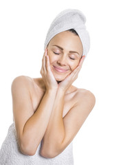 Beauty woman with closed eyes after bathing