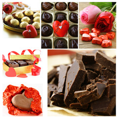 collage of assorted chocolate candy gift for  Valentine's Day
