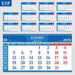 Spanish calendar 2015, horizontal grid for quarterly calendar