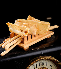Fine dining Italian appetizers, Grissini bread stick, crackers
