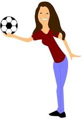 soccer mom holding ball