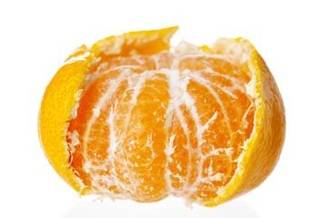 Peeled tangerine isolated on white background