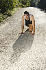 Runner warming in the road