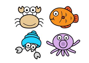 Crab, fish, squid, shellfish