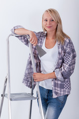 Woman before room renovation