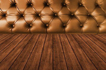 dark brown  leather seat with dark wood texture plank timber