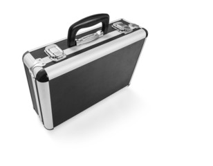 Metal suitcase isolated on white