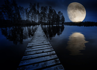 wooden path on a lake and moon