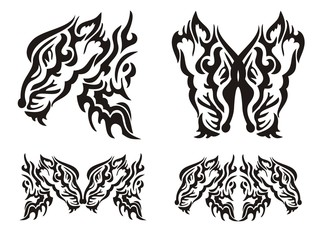 Tribal tattoo wild fox elements