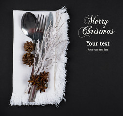 Christmas table setting in silver, brown and white, copy space