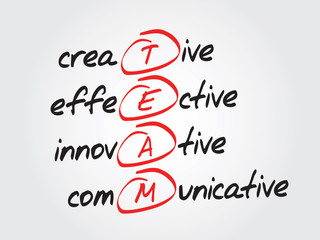 Hand writing TEAM, vector business concept acronym