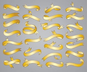 Sets of ribbon banners in gold vector illustration