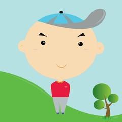 A boy wearing a hat.