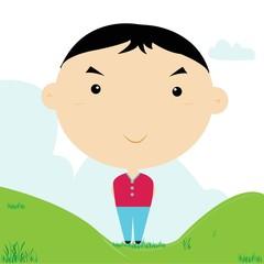 A boy wearring a red shirt