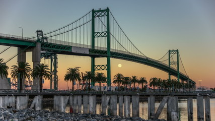 HDR Full Moon Port of LA Vincent Thomas Bridge Time Lapse