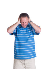 adult white man covering his ears and screaming